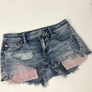 American Eagle Shortie light wash shorts 0